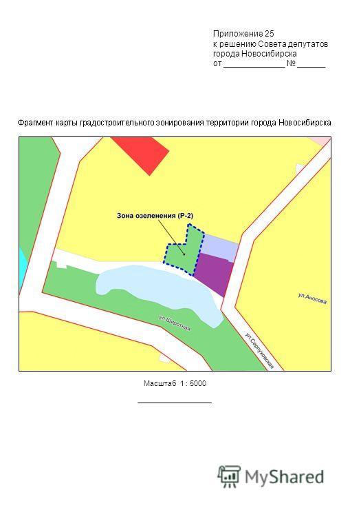 Приложение 25 к решению Совета депутатов города Новосибирска от _____________ ______ Масштаб 1 : 5000