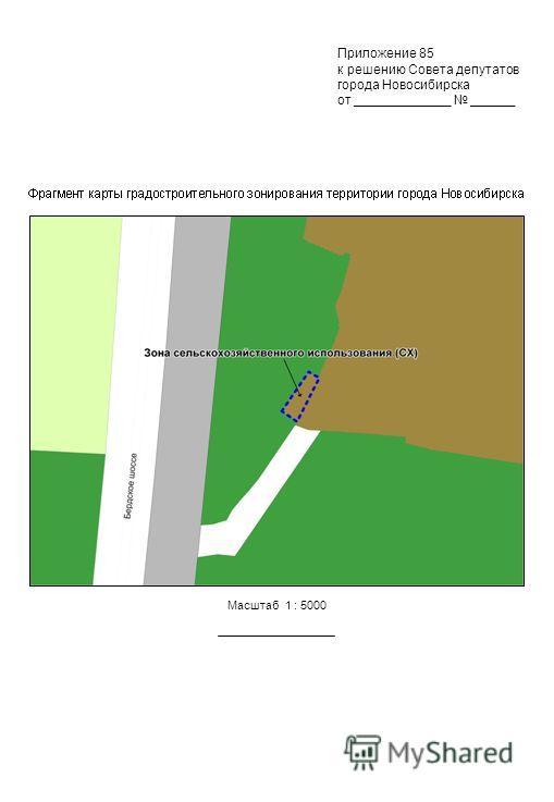Приложение 85 к решению Совета депутатов города Новосибирска от _____________ ______ Масштаб 1 : 5000