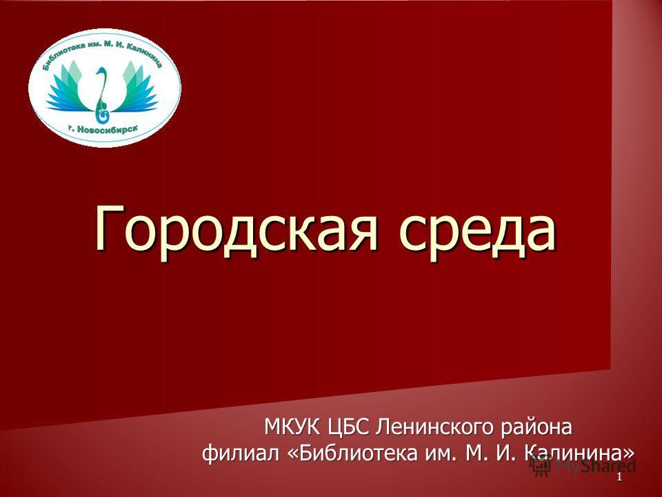 1 Городская среда МКУК ЦБС Ленинского района филиал «Библиотека им. М. И. Калинина»