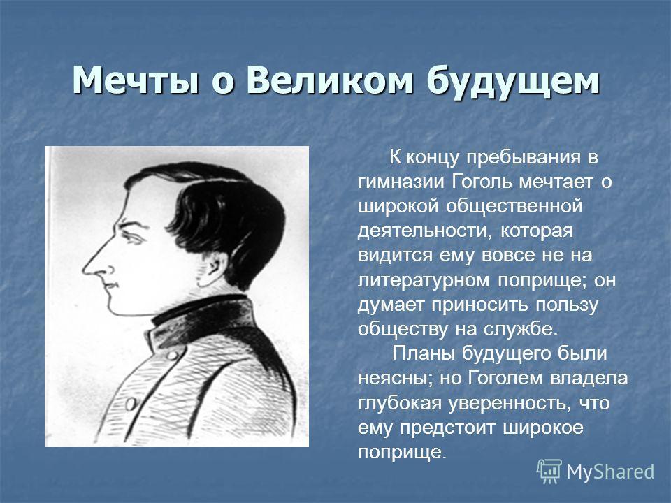 К концу пребывания в гимназии Гоголь мечтает о широкой общественной деятельности, которая видится ему вовсе не на литературном поприще; он думает приносить пользу обществу на службе. Планы будущего были неясны; но Гоголем владела глубокая уверенность