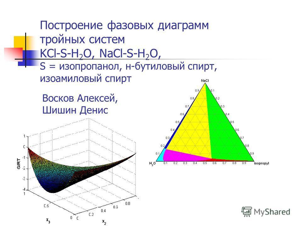 Построение фазовых диаграмм тройных систем KCl-S-H 2 O, NaCl-S-H 2 O, S = изопропанол, н-бутиловый спирт, изоамиловый спирт Восков Алексей, Шишин Денис