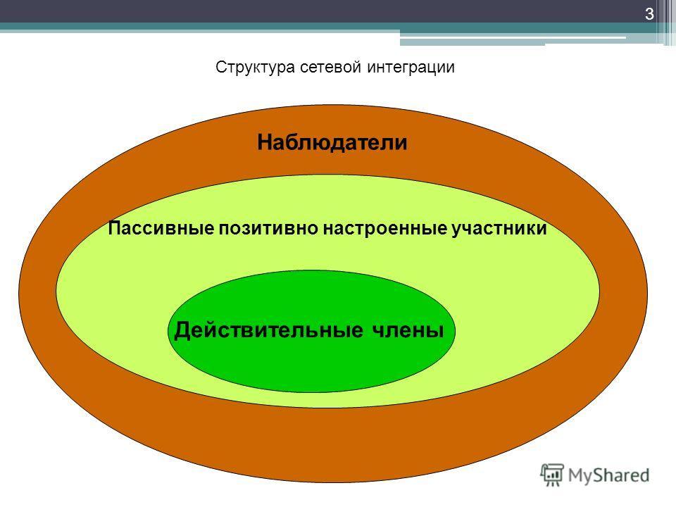 3 Наблюдатели Пассивные позитивно настроенные участники Структура сетевой интеграции Действительные члены