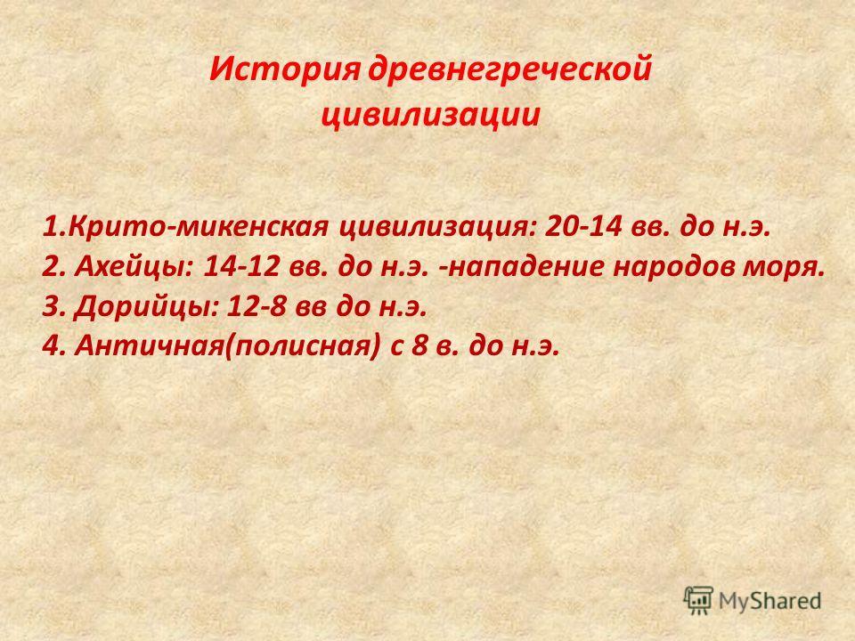 История древнегреческой цивилизации 1.Крито-микенская цивилизация: 20-14 вв. до н.э. 2. Ахейцы: 14-12 вв. до н.э. -нападение народов моря. 3. Дорийцы: 12-8 вв до н.э. 4. Античная(полисная) с 8 в. до н.э.