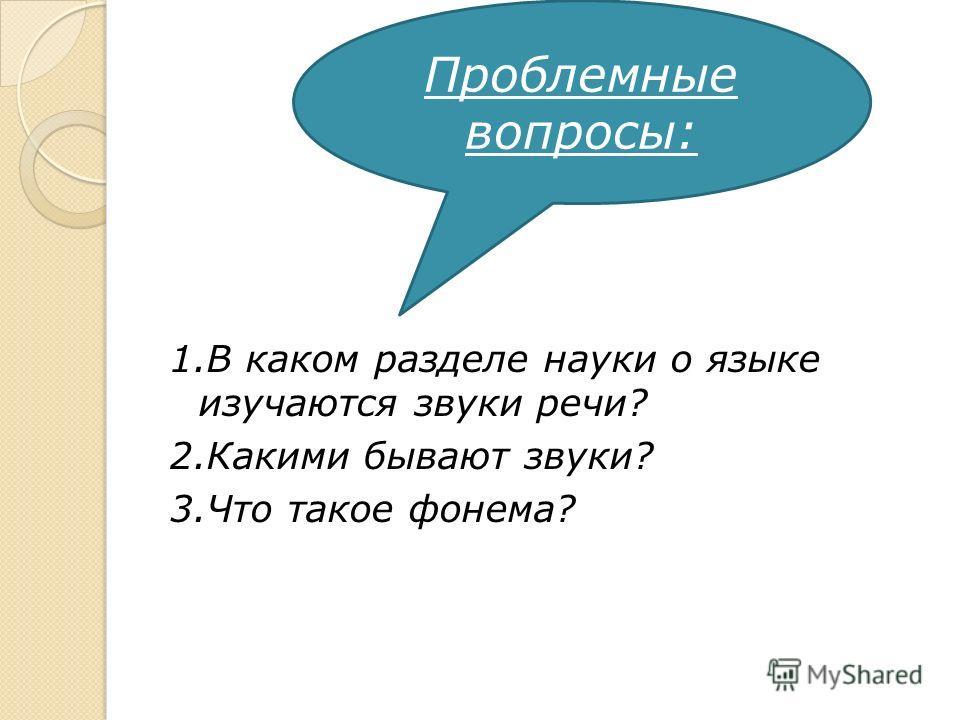 1.В каком разделе науки о языке изучаются звуки речи? 2.Какими бывают звуки? 3.Что такое фонема? Проблемные вопросы: