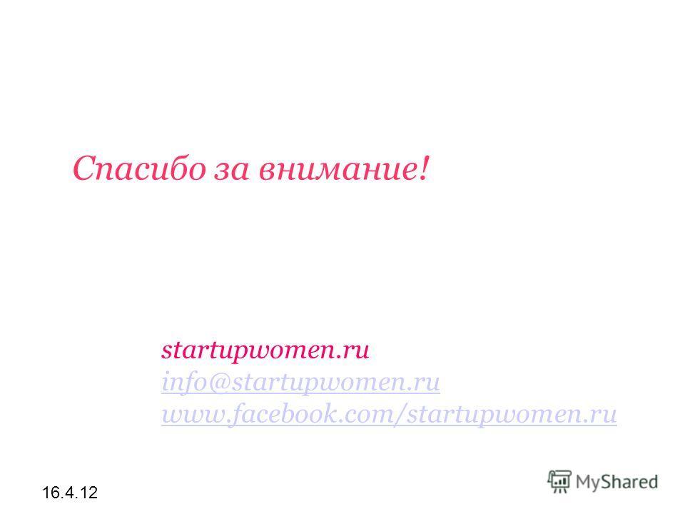 16.4.12 Спасибо за внимание! startupwomen.ru info@startupwomen.ru info@startupwomen.ru www.facebook.com/startupwomen.ru