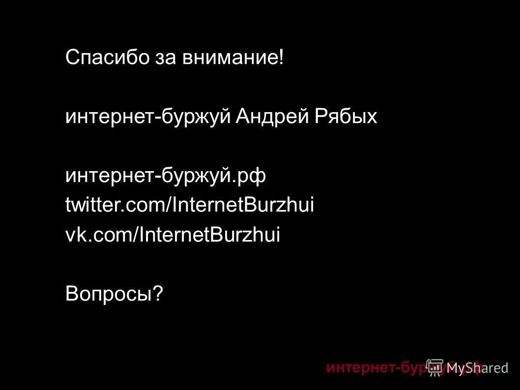 Спасибо за внимание! интернет-буржуй Андрей Рябых интернет-буржуй.рф twitter.com/InternetBurzhui vk.com/InternetBurzhui Вопросы?