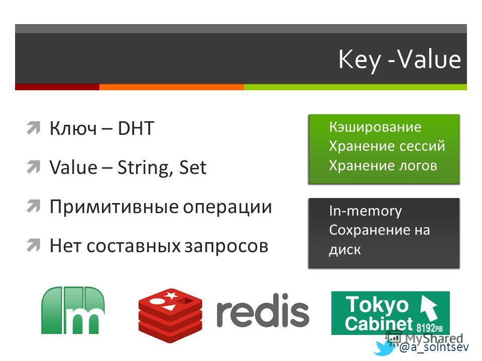 Key -Value Ключ – DHT Value – String, Set Примитивные операции Нет составных запросов Кэширование Хранение сессий Хранение логов In-memory Сохранение на диск @a_solntsev
