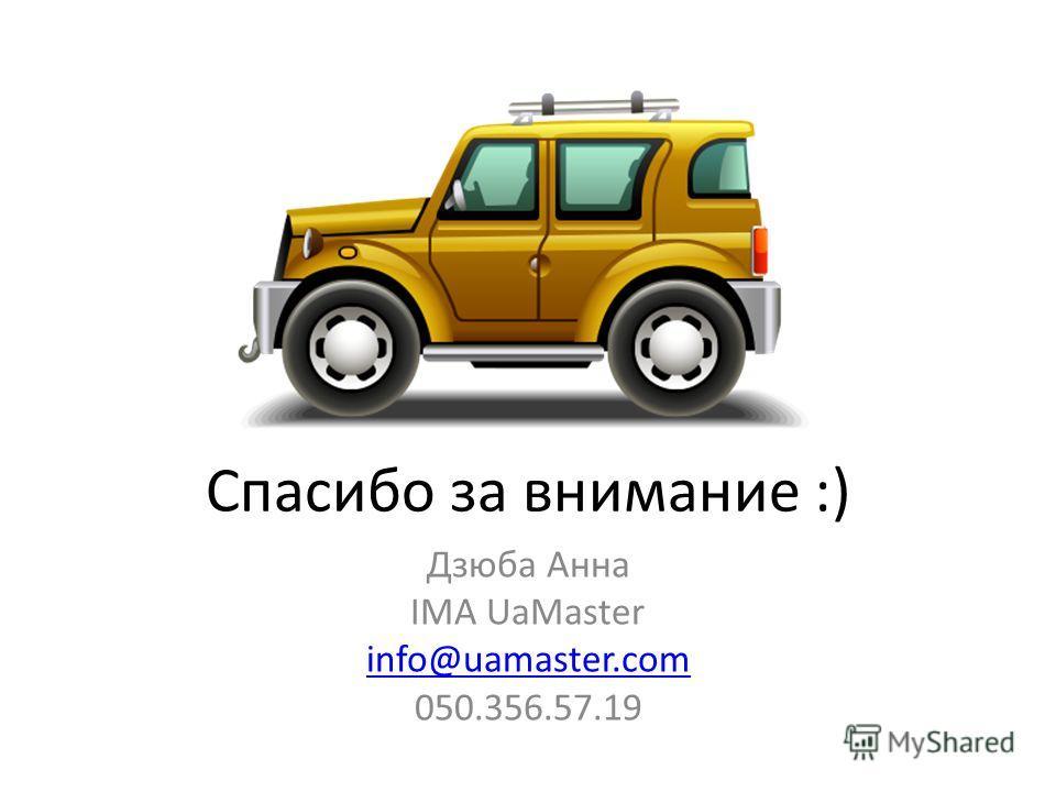 Спасибо за внимание :) Дзюба Анна IMA UaMaster info@uamaster.com 050.356.57.19