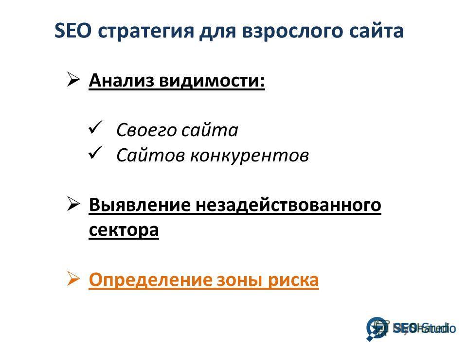 SEO стратегия для взрослого сайта Анализ видимости: Своего сайта Сайтов конкурентов Выявление незадействованного сектора Определение зоны риска