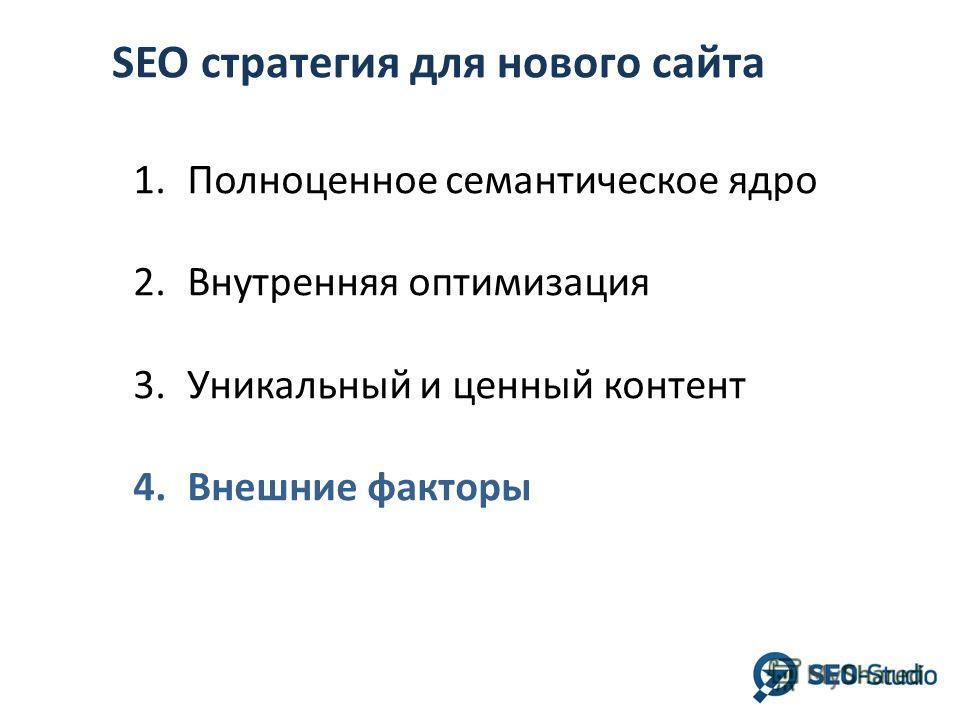 SEO стратегия для нового сайта 1.Полноценное семантическое ядро 2.Внутренняя оптимизация 3.Уникальный и ценный контент 4.Внешние факторы