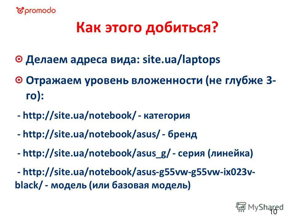 Как этого добиться? Делаем адреса вида: site.ua/laptops Отражаем уровень вложенности (не глубже 3- го): - http://site.ua/notebook/ - категория - http://site.ua/notebook/asus/ - бренд - http://site.ua/notebook/asus_g/ - серия (линейка) - http://site.u