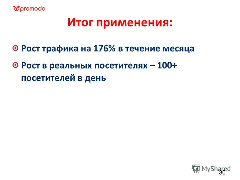 Итог применения: Рост трафика на 176% в течение месяца Рост в реальных посетителях – 100+ посетителей в день 30
