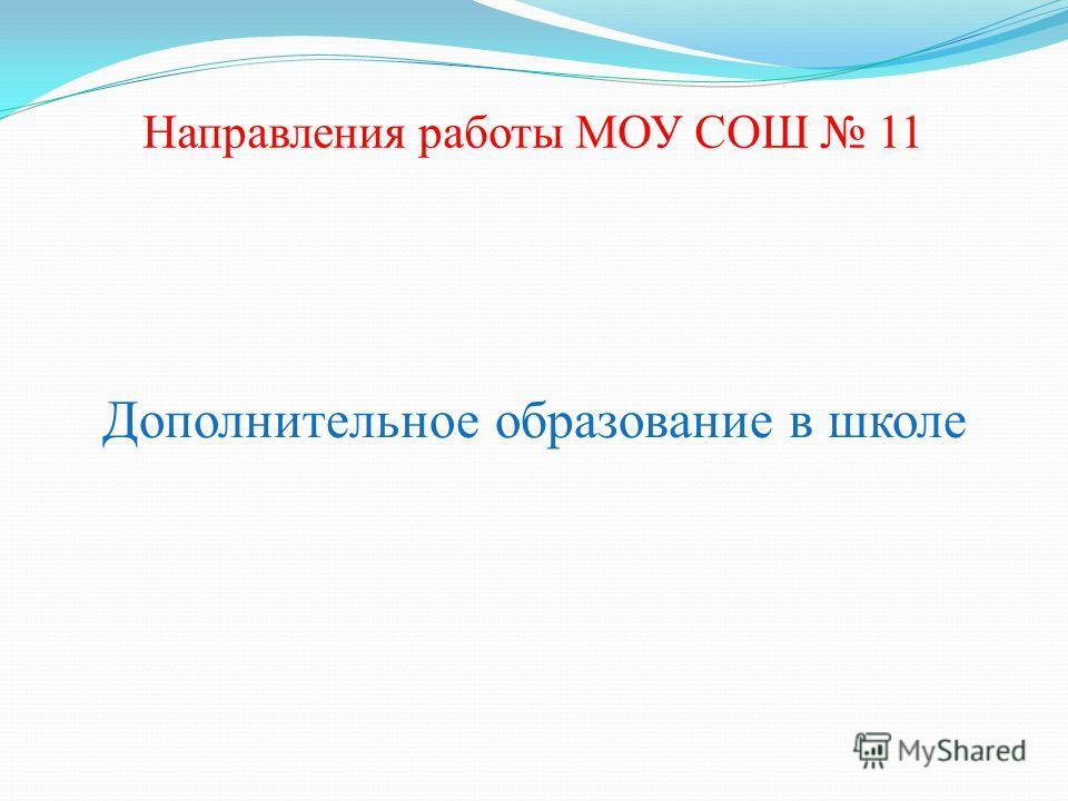 Направления работы МОУ СОШ 11 Дополнительное образование в школе