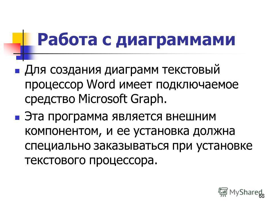 68 Работа с диаграммами Для создания диаграмм текстовый процессор Word имеет подключаемое средство Microsoft Graph. Эта программа является внешним компонентом, и ее установка должна специально заказываться при установке текстового процессора.