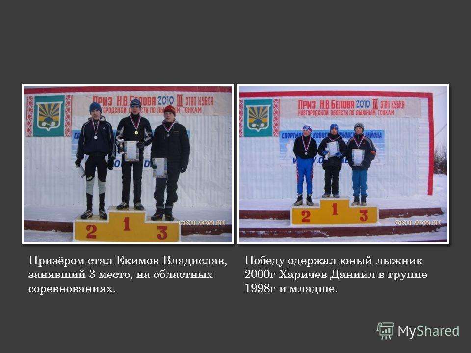 Призёром стал Екимов Владислав, занявший 3 место, на областных соревнованиях. Победу одержал юный лыжник 2000г Харичев Даниил в группе 1998г и младше.