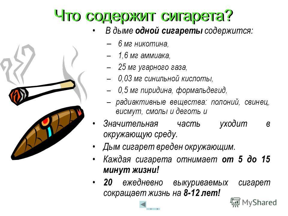 Что содержит сигарета? В дыме одной сигареты содержится: – 6 мг никотина, – 1,6 мг аммиака, – 25 мг угарного газа, – 0,03 мг синильной кислоты, – 0,5 мг пиридина, формальдегид, – радиактивные вещества: полоний, свинец, висмут, смолы и деготь и Значит