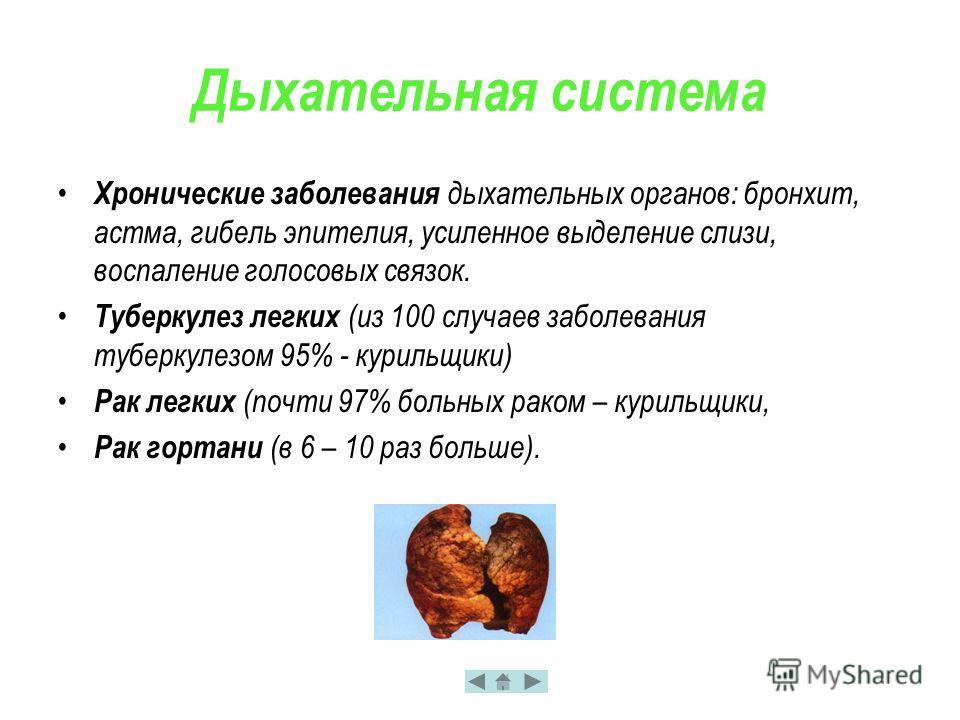 Дыхательная система Хронические заболевания дыхательных органов: бронхит, астма, гибель эпителия, усиленное выделение слизи, воспаление голосовых связок. Туберкулез легких (из 100 случаев заболевания туберкулезом 95% - курильщики) Рак легких (почти 9