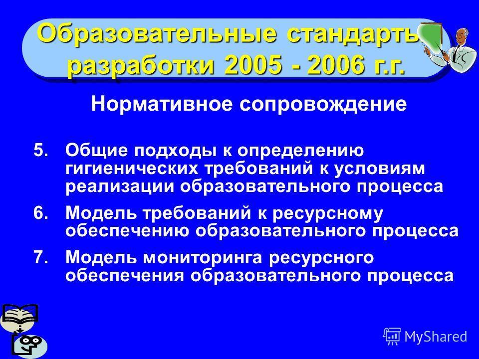 Образовательные стандарты: разработки 2005 - 2006 г.г. Образовательные стандарты: разработки 2005 - 2006 г.г. Нормативное сопровождение 5.Общие подходы к определению гигиенических требований к условиям реализации образовательного процесса 6.Модель тр