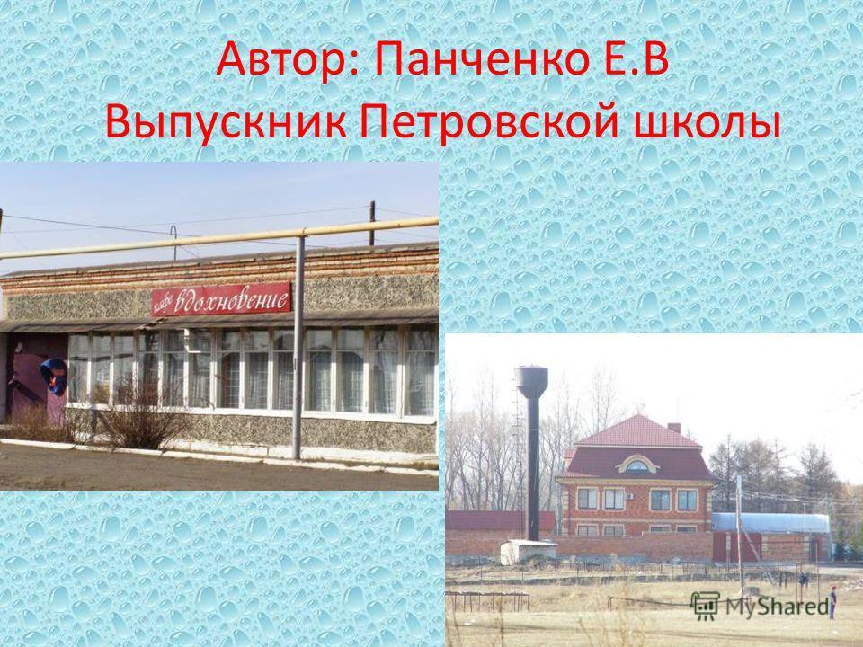 Автор: Панченко Е.В Выпускник Петровской школы