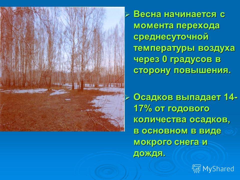 Весна начинается с момента перехода среднесуточной температуры воздуха через 0 градусов в сторону повышения. Весна начинается с момента перехода среднесуточной температуры воздуха через 0 градусов в сторону повышения. Осадков выпадает 14- 17% от годо