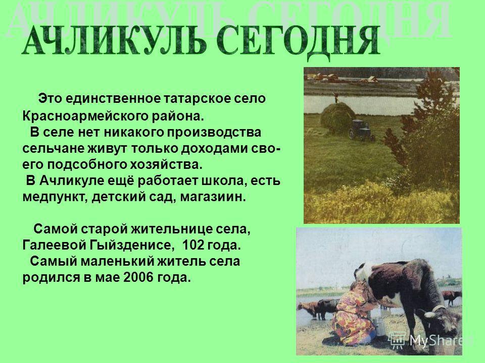 Это единственное татарское село Красноармейского района. В селе нет никакого производства сельчане живут только доходами сво- его подсобного хозяйства. В Ачликуле ещё работает школа, есть медпункт, детский сад, магазиин. Самой старой жительнице села,