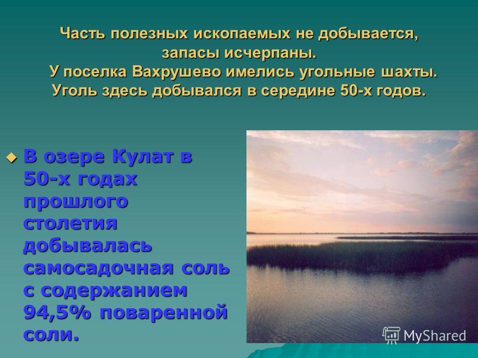 Часть полезных ископаемых не добывается, запасы исчерпаны. У поселка Вахрушево имелись угольные шахты. Уголь здесь добывался в середине 50-х годов. В озере Кулат в 50-х годах прошлого столетия добывалась самосадочная соль с содержанием 94,5% поваренн