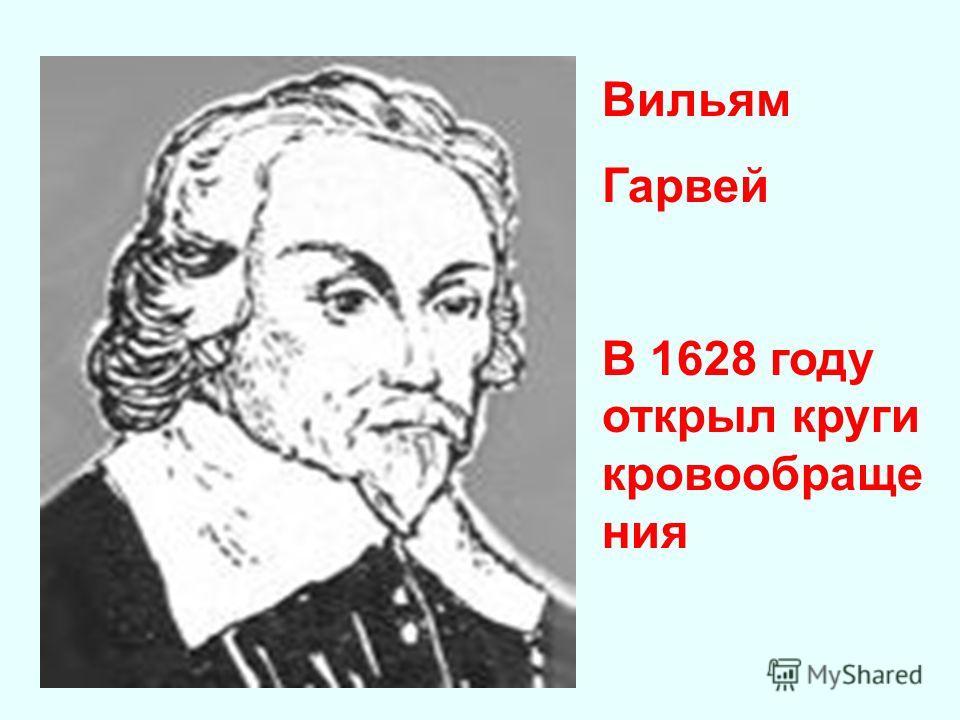 Вильям Гарвей В 1628 году открыл круги кровообраще ния