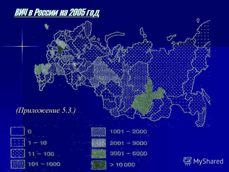 ВИЧ в России на 2005 год (Приложение 5.3.)