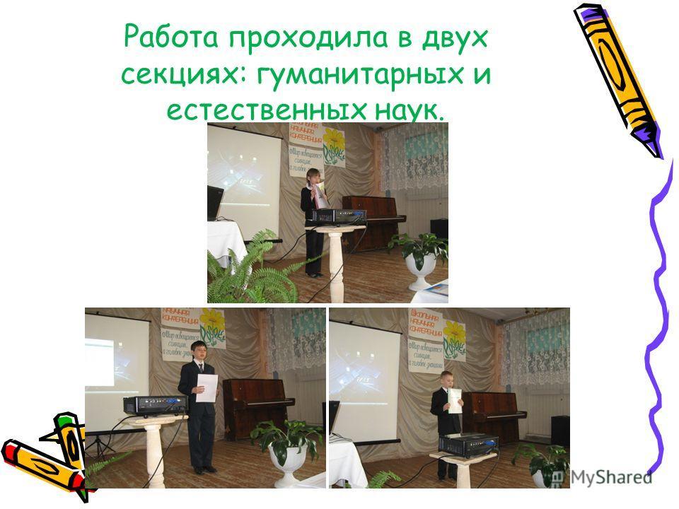 Работа проходила в двух секциях: гуманитарных и естественных наук.