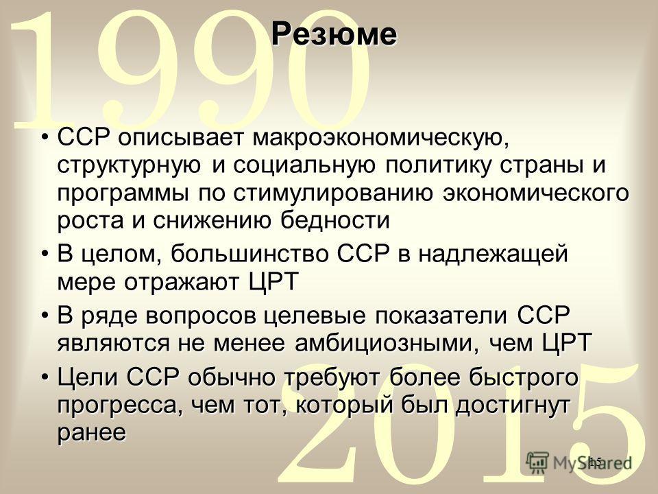 2015 1990 15 Резюме ССР описывает макроэкономическую, структурную и социальную политику страны и программы по стимулированию экономического роста и снижению бедностиССР описывает макроэкономическую, структурную и социальную политику страны и программ