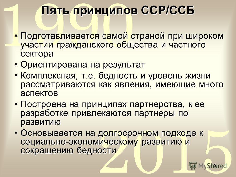 2015 1990 6 Пять принципов ССР/ССБ Подготавливается самой страной при широком участии гражданского общества и частного сектораПодготавливается самой страной при широком участии гражданского общества и частного сектора Ориентирована на результатОриент