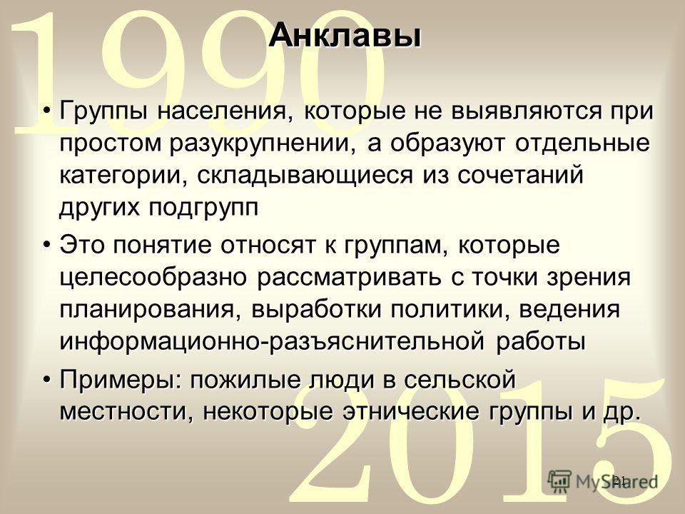 2015 1990 21 Анклавы Группы населения, которые не выявляются при простом разукрупнении, а образуют отдельные категории, складывающиеся из сочетаний других подгруппГруппы населения, которые не выявляются при простом разукрупнении, а образуют отдельные