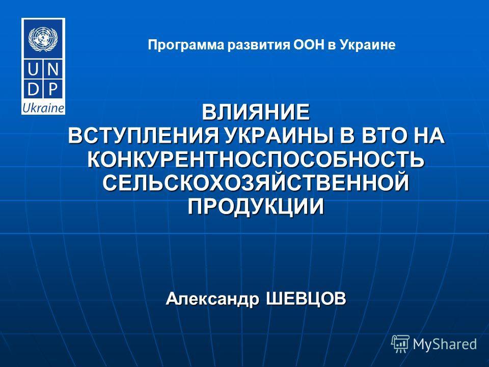 ВЛИЯНИЕ ВСТУПЛЕНИЯ УКРАИНЫ В ВТО НА КОНКУРЕНТНОСПОСОБНОСТЬ СЕЛЬСКОХОЗЯЙСТВЕННОЙ ПРОДУКЦИИ Александр ШЕВЦОВ Программа развития ООН в Украине