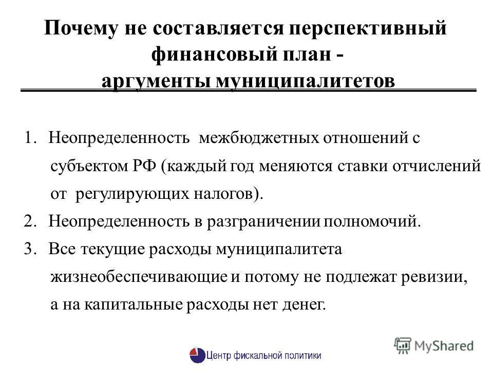 1.Неопределенность межбюджетных отношений с субъектом РФ (каждый год меняются ставки отчислений от регулирующих налогов). 2.Неопределенность в разграничении полномочий. 3.Все текущие расходы муниципалитета жизнеобеспечивающие и потому не подлежат рев