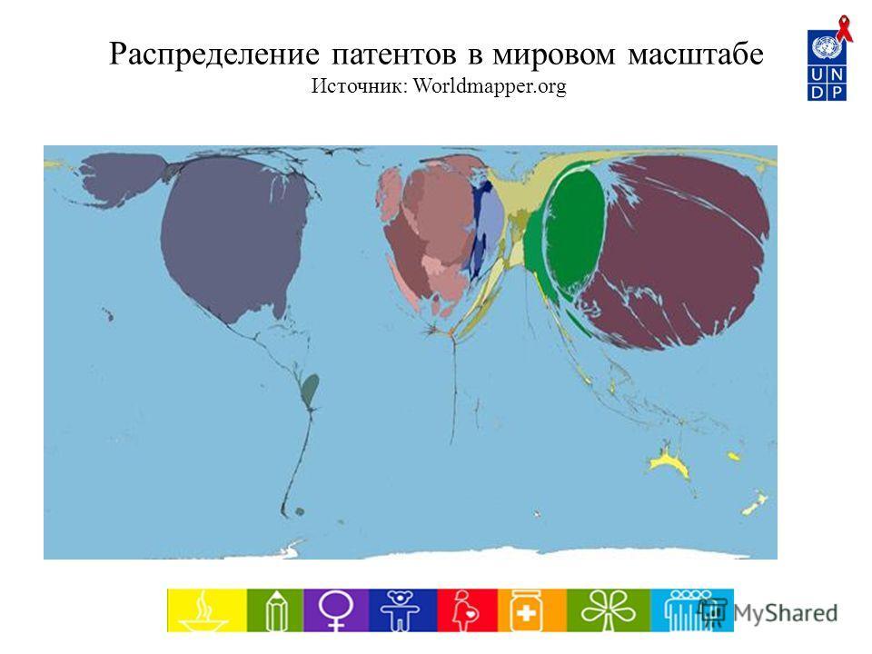 Распределение патентов в мировом масштабе Источник: Worldmapper.org