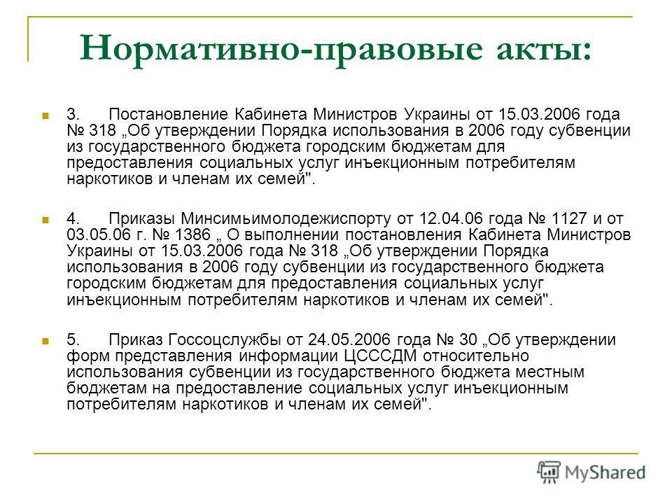 Нормативно-правовые акты: 3.Постановление Кабинета Министров Украины от 15.03.2006 года 318 Об утверждении Порядка использования в 2006 году субвенции из государственного бюджета городским бюджетам для предоставления социальных услуг инъекционным пот