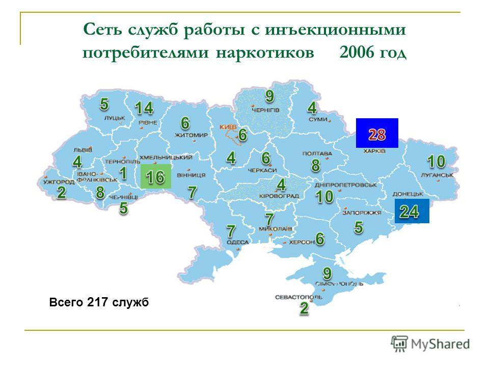 Сеть служб работы с инъекционными потребителями наркотиков 2006 год Всего 217 служб