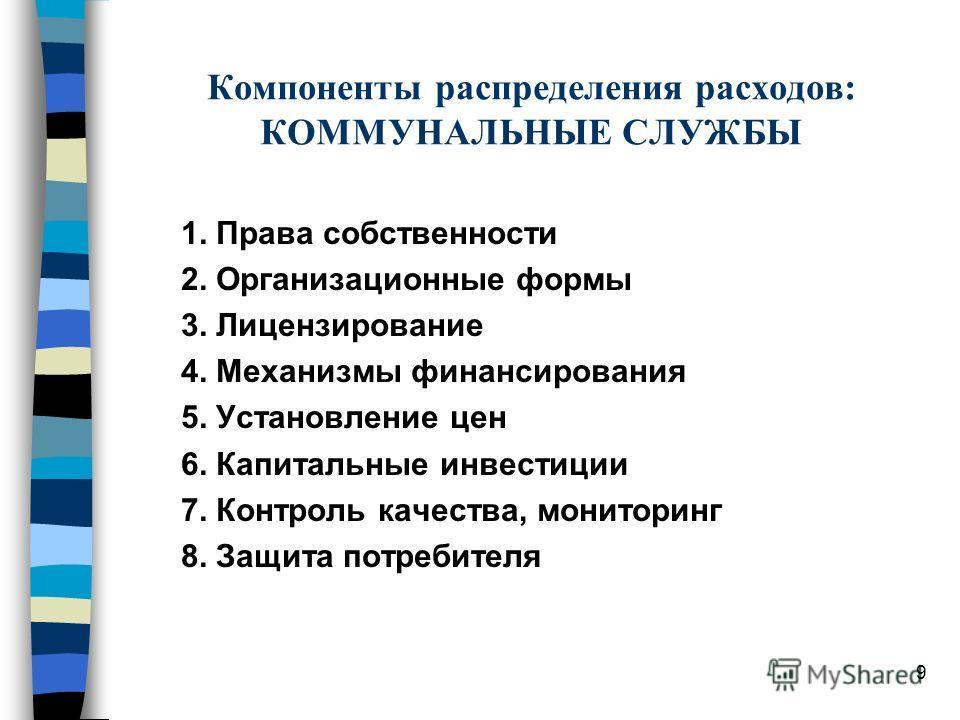 8 Компоненты отношений между различными уровнями правительства в области образования 1. Персонал 2. Учебная программа 3. Инфраструктура 4. Контингент учащихся 5. Контроль качества 6. Финансы
