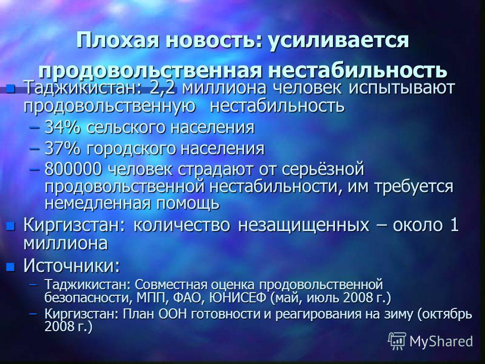 Плохая новость: усиливается продовольственная нестабильность n Таджикистан: 2,2 миллиона человек испытывают продовольственную нестабильность –34% сельского населения –37% городского населения –800000 человек страдают от серьёзной продовольственной не