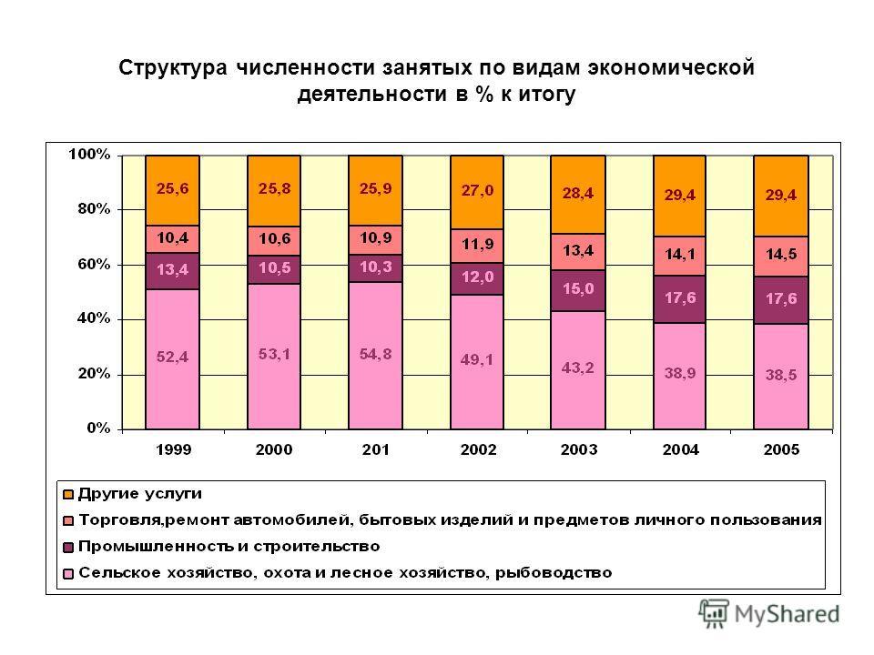 Структура численности занятых по видам экономической деятельности в % к итогу