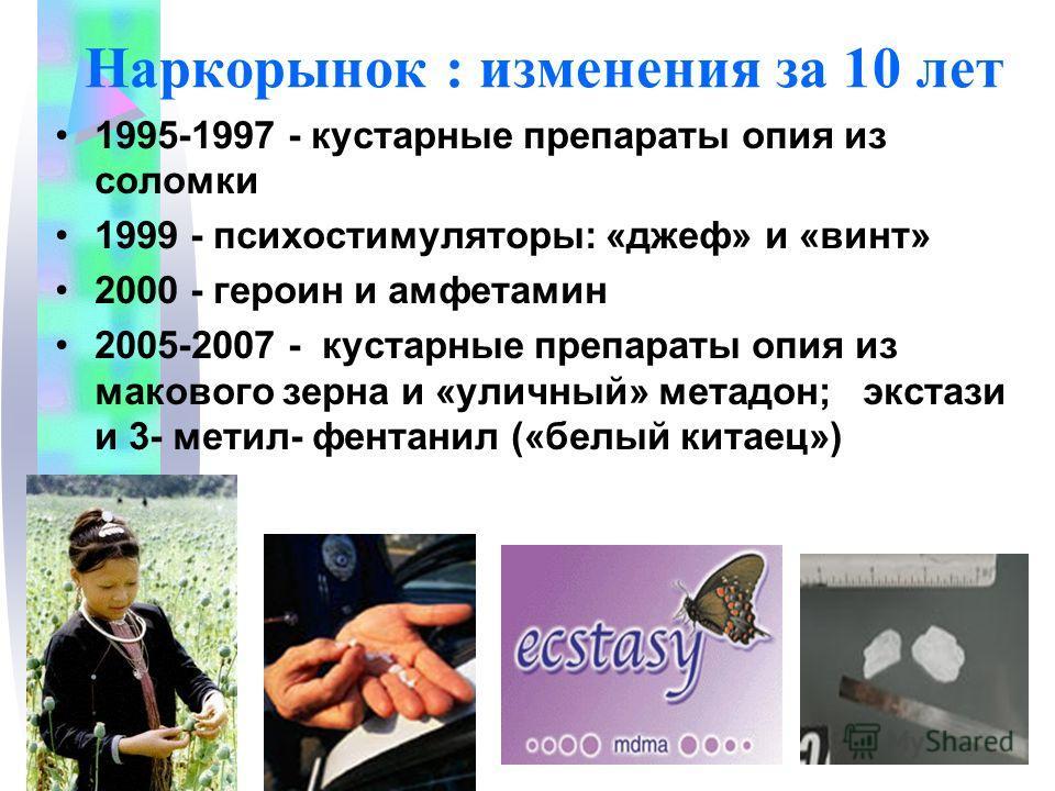 Наркорынок : изменения за 10 лет 1995-1997 - кустарные препараты опия из соломки 1999 - психостимуляторы: «джеф» и «винт» 2000 - героин и амфетамин 2005-2007 - кустарные препараты опия из макового зерна и «уличный» метадон; экстази и 3- метил- фентан
