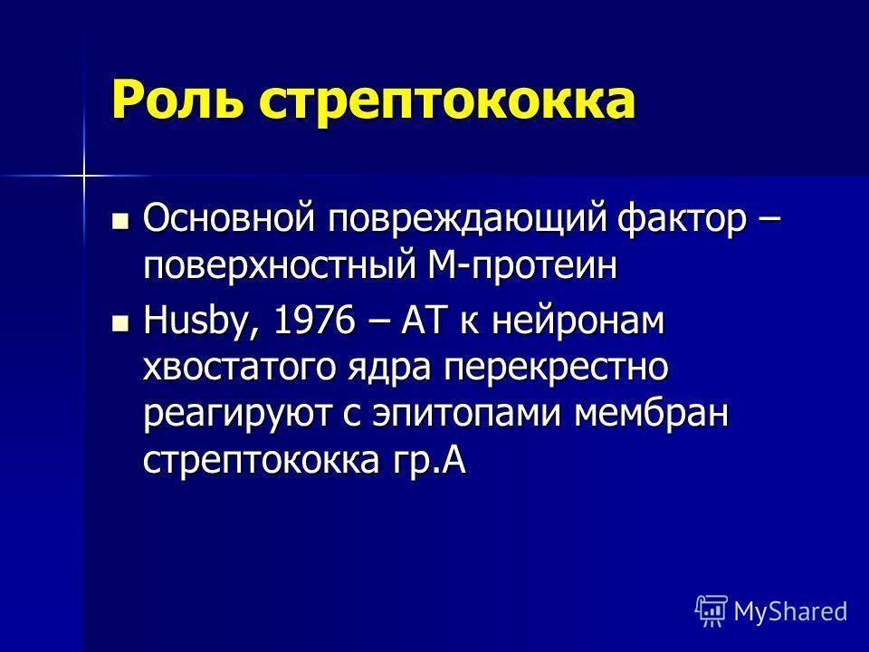 Роль стрептококка Основной повреждающий фактор – поверхностный М-протеин Основной повреждающий фактор – поверхностный М-протеин Husby, 1976 – АТ к нейронам хвостатого ядра перекрестно реагируют с эпитопами мембран стрептококка гр.А Husby, 1976 – АТ к