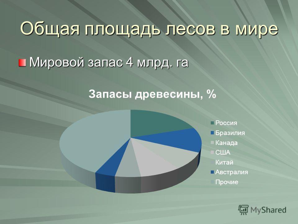 Общая площадь лесов в мире Мировой запас 4 млрд. га