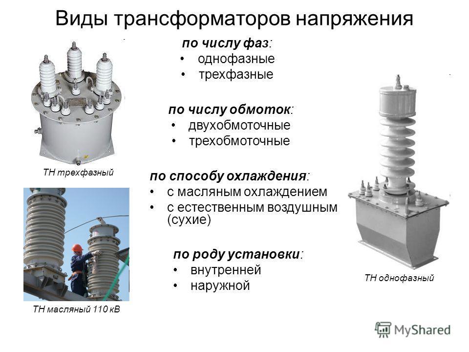 Виды трансформаторов напряжения по числу фаз: однофазные трехфазные по числу обмоток: двухобмоточные трехобмоточные по способу охлаждения: с масляным охлаждением с естественным воздушным (сухие) по роду установки: внутренней наружной ТН однофазный ТН