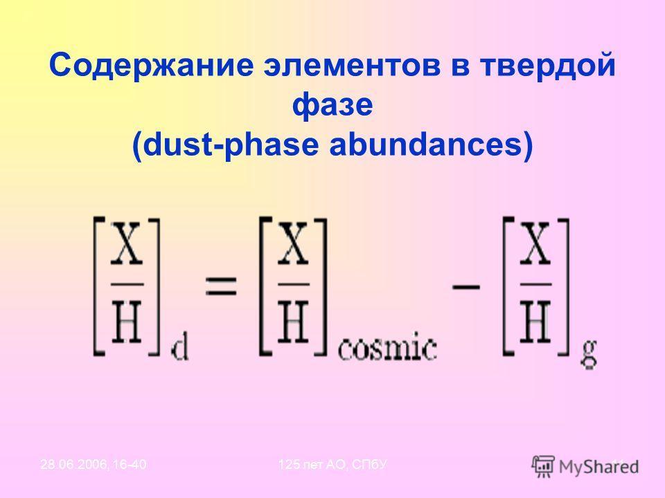 28.06.2006, 16-40125 лет АО, СПбУ10 Reference abundances («от чего все танцуют») Межзвездные пылинки состоят из пяти самых «важных» элементов: C, O – primary Mg, Si, Fe – major ----------------------------------------------------------- Na, Al, Ca, N