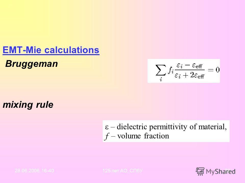 28.06.2006, 16-40125 лет АО, СПбУ19 Три подхода к моделированию 1.Две и более популяции компактных частиц Метод расчета: теория Mie 2. Перемешивание веществ (показателей преломления) в одной частице: теория эффективной среды (effective medium theory,
