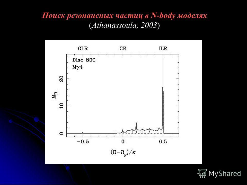 Поиск резонансных частиц в N-body моделях (Athanassoula, 2003)