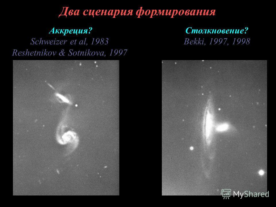 Два сценария формирования Аккреция? Schweizer et al, 1983 Reshetnikov & Sotnikova, 1997 Столкновение? Bekki, 1997, 1998