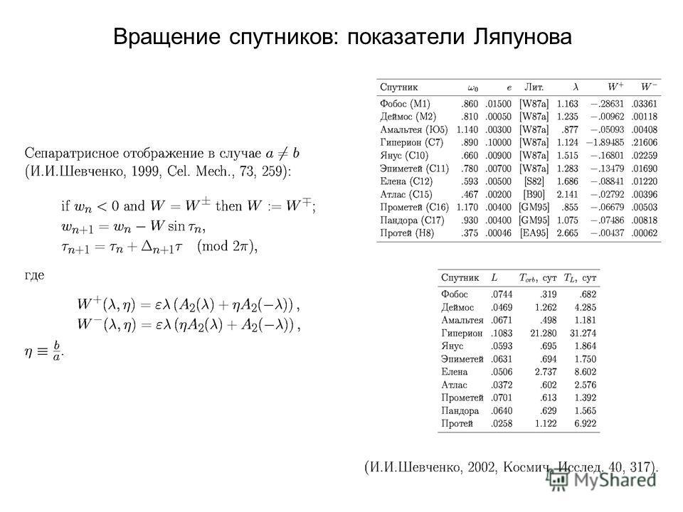 Вращение спутников: показатели Ляпунова