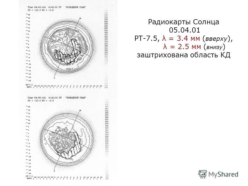 Радиокарты Солнца 05.04.01 РТ-7.5, λ = 3.4 мм ( вверху ), λ = 2.5 мм ( внизу ) заштрихована область КД